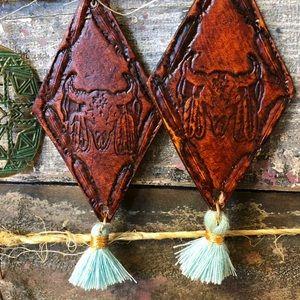 Anthropologie Jewelry - Bullhead Leather Stamped Brown Earrings